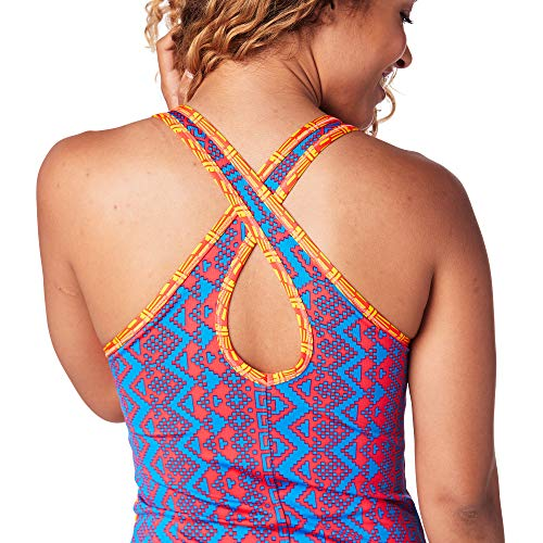 Zumba Damen Women's Sexy Open Back Breathable Workout Fashion Tank Top Blue Happy 10, Medium (De Dama Deportiva Ropa)