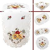 Quinnyshop Klatschmohn Sonnenblume Stickerei Tischdeckchen 20 cm Rund Satin-Optik, Weiß
