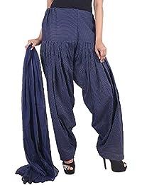 Rangsthali Cotton Kantha Work Full Patiala Dupatta For Women (Color: Navy Blue)