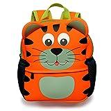 BTSKY Cartera Escolar Infantil con Asa Doble Mochila Graciosa con Diseño de Animales como Mono Tigre Jirafa Ligero Tamaño Perfecto para Niños de 1-5 Años (Tigre)