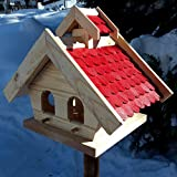 Vogelhaus-XL Rot- Vogelhäuser-Vogelfutterhaus Vogelhäuschen-aus Holz Wetterschutz Putzklappe