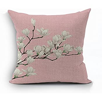 Nunubee Flower Soft Cotton Pillowcase Home Linen Decor Pillow Cover Sofa Car Cushion Pink 1