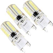 ZEEFO G9 Bombillas LED, 4W Blanco Luz de Día, 6000K Bombilla de Luz, Base Bi-pin 72 de 360 Grados X 4014 SMD LED Bombilla con Regulador de Intensidad, AC 230V Para Lámpara Araña, Luces de Techo, Apliques de Luces de Interior(Pack de 3)