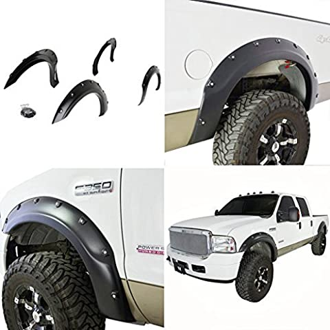 E-Autogrilles 18290 Black Fender Flare (99-07 Ford F-250/F-350 Super Duty Pocket Rivet Style Front+Rear) by E-Autogrilles