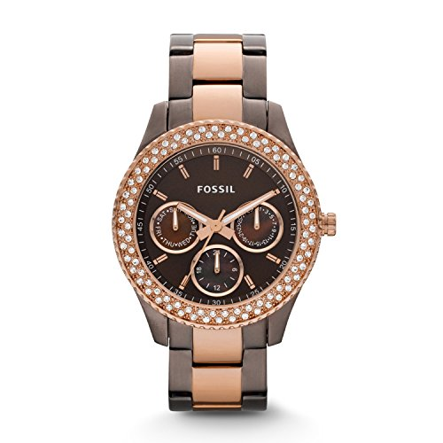 Fossil Stella ES2955 - Reloj analógico de cuarzo para mujer, correa de acero inoxidable chapado multicolor (agujas luminiscentes)