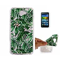 For Huawei Y5 II Case,Huawei Y5 2 Case, Huawei Y6 II Compact Case [With Tempered Glass Screen Protector],Fatcatparadise(TM) Anti Scratch Transparent Soft Silicone Cover Case ,Colorful Cute Pattern Ultra Slim Flexible Non-Slip Design TPU Protective [Crysta