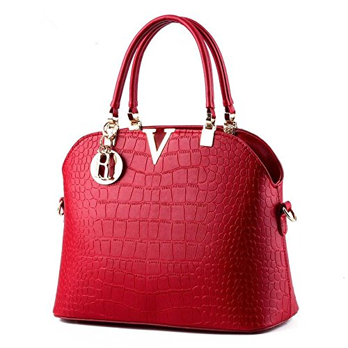 pu-pelle-dolce-signora-stereotipi-shell-borsa-tracolla-messenger-handbag-wine-red