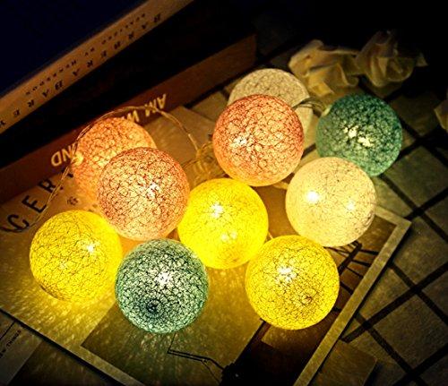 Led-Leuchten Mädchen Herz Zimmer Schlafsaal Kreative ins Thailand Baumwolle Ball Lichterketten Rattan Ball Weihnachtsdekoration Lichter,Farbe,Jeder 6cm (Stoff-farben-licht 6)