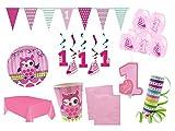 XXL Party Deko Set 1.Geburtstag Eule Mädchen Kindergeburtstag für 12 Personen Komplettset