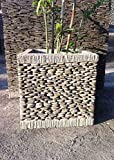wanda collection Maceta Tiesto Jardinera Cuadrada Cubo Piedra 50 cm jardín Zen terraza