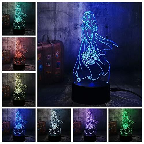 licht Schneewittchen Prinzessin Zimmer Bar Dekor Hübsches Muster Weihnachtsgeschenk Für Mädchen Kind USB Schreibtisch Schlaf Lampe ()