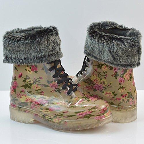LvRao Damen Wasserdichte Schnürschuhe Kurz Boots Schnee Regen Booties Casual Garten Stiefel Gummistiefel Braun mit Pelz