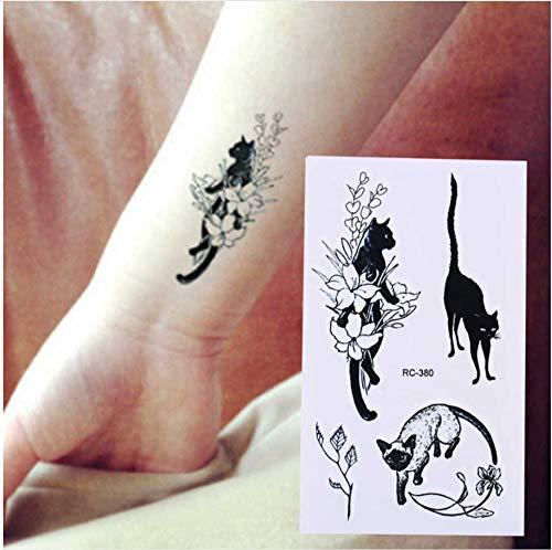 Sexy Schwarze Katze Temporäre Tätowierung Körperkunst Arm Flash Tattoo Aufkleber 10,5X6 cm Wasserdichte Gefälschte Henna Schmerzlose Tattoo Aufkleber