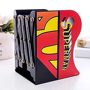 Ayat Retail Metal Superhero Design Adjustable Non-Slip Bookend Bracket Book Holder for Room Office Library - Black & Red