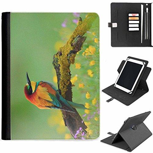 Hairyworm - Multi Farbe Vogel saß auf einem Ast Samsung Ativ Tab P8510 (GT-P8510) Leder Klapphüllen Etui 360° Schwenkgehäuse, Schutzfolie mit Apple Bleistift / Stift / Stifthalter, Kartenfächern, Papierschlitz, Metallschnalle, Standfunktion