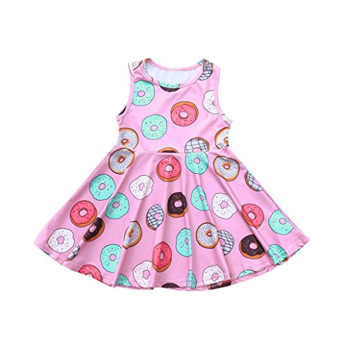 Janly® Dress, Tunic Dresses for 0-4 Years Old Girls Doughnut Printing Dress Sleeveless Sundress Outfits