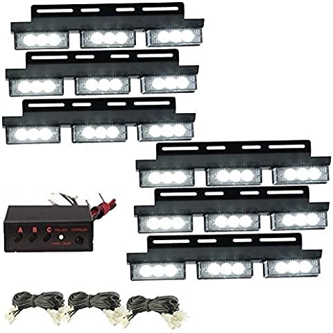 katur 6x 54LED bianco lampadina luce di emergenza Strobe auto camion flash spie per griglia anteriore/Deck