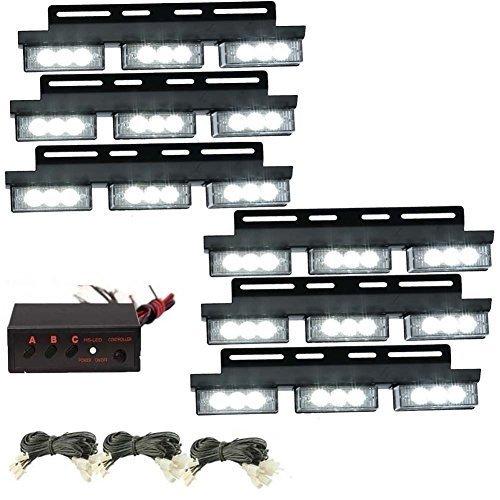 KaTur 6x 54LED Weiß Auto Notlicht Strobe Leuchtmittel Truck Flash Warnung vor Lichter für Kühlergrill/Deck (Truck-box Licht)