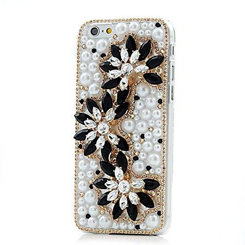 Preisvergleich Produktbild Spritech(TM) 3D Bling Rhinestone Pearl Design Luxury Diamond Flower Decor Hard Cover Case for iphone 6 4.7 by Spritech