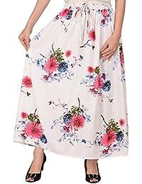 COTTON BREEZE Women's Viscose Skirt (White_Free Size)