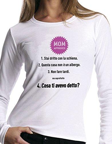 t-shirt manica lunga festa della Mamma - Mamma approved - S M L XL XXL uomo donna bambino maglietta by tshirteria