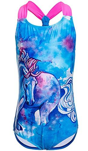 DUSISHIDAN Badeanzug Mädchen Einteiliger Bademode BikinifürKinder Blaues Pferd L