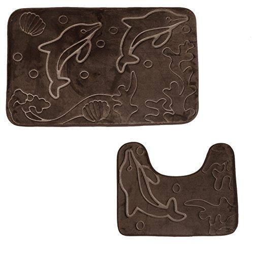 Badematten-Sets, AOUTOS 2 Stück Flanell 3D Marine Dolphin Printing Anti-Rutsch Anti-Staub Bad Abdeckung Sets: Bad Mat + Contour Teppich -