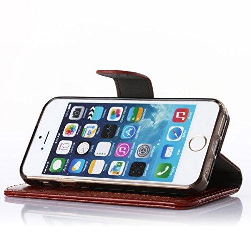 iPhone SE/5S Hülle,Fodlon® Mode Brieftasche mit Karte Schlitze Telefon Schutzhülle -Blau braun