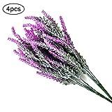 True-Ying künstliche Lavendelpflanze im Landhausstil, dekorative Blume, für Hochzeiten, konserviert, Frische Blumen, Lila, Lavendel, 4 Stück, violett