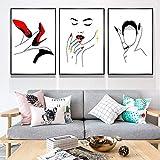 3 piezas pintura decorativa moderna figuras abstractas y uñas rojas tacones altos dibujo núcleo sala de estar sofá decoración hd pintura colgante lienzo sin marco 50x70 cm