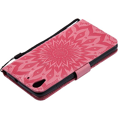 Für Huawei Hornor 5A Fall, Prägen Sonnenblume Magnetische Muster Premium Soft PU Leder Brieftasche Stand Case Cover mit Lanyard & Halter & Card Slots ( Color : Gray ) Pink