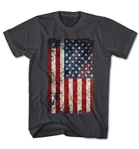 Herren T-Shirt USA Flagge Vintage Grunge Look Anthrazit