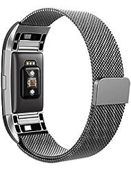 Bepack Fitbit Charge 2 Correa de Reemplazo,Ajustable Pulsera de Acero Inoxidable con Cierre Magnético para Fitbit Charge 2