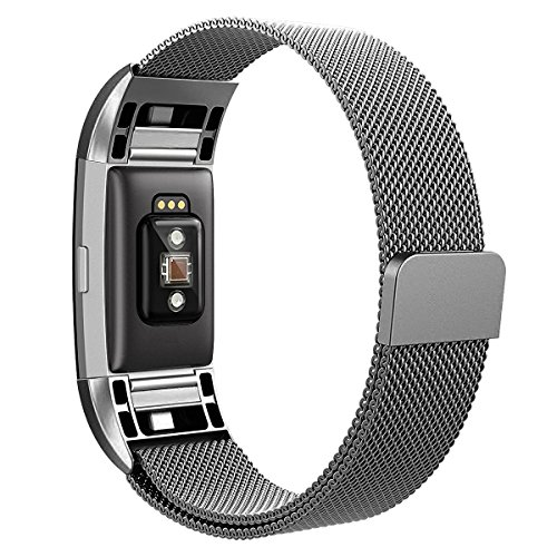 Hanlesi Armband für Fitbit Charge 2 , Edelstahl Armbanduhren Watch Band Fitness für Fitbit Charge 2 (Gray, Small(190mm/7.5inch))