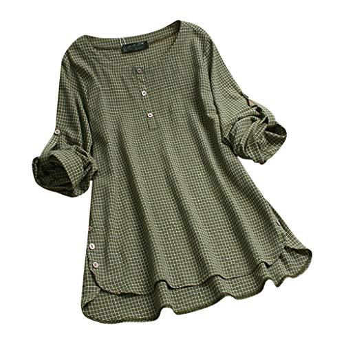 PinkLu Classics Damen T-Shirt Karierte Lange Ärmel V-Ausschnitt Knopfleiste Bluse Damenhemden Knöpfen Allover Druck Oberteile Top Solide Tunika Sommer Tops Grün/Weiß (M-5XL) -