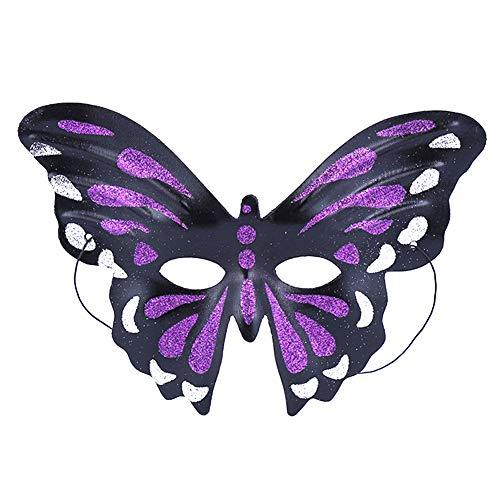 Daliuing Frauen Halloween Maske Schmetterling Form Kostüm Festival Maske Glitzer Kunststoff Erwachsene Band Maske für Karneval Party 26.5 * 17cm C (Kunststoff-maske Form)
