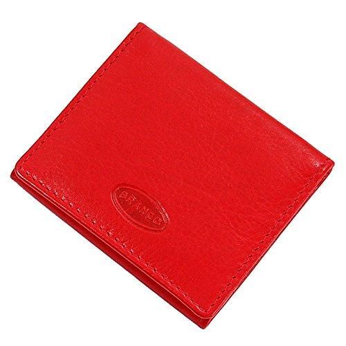 Branco Wiener Schachtel Münzbox Geldbörse Münzbörse Geldbeutel Leder Coin Box GoBago (Schwarz) Rot