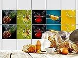 GRAZDesign 770347_15x15_FS10st Fliesen-Aufkleber Set Zitrus - Früchte für Kacheln | Küchen-Fliesen mit Folie überkleben (15x15cm//Set 10 Stück)