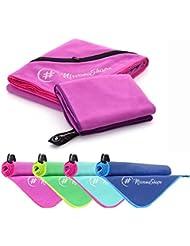 2er-Set Premium Mikrofaser Handtücher - inkl. Packtasche   Ultra saugfähige & schnelltrocknende Sport- und Badehandtücher mit praktischer Reißverschluss Ecktasche   Ideal für Fitness, Yoga, Sauna, Outdoor, Reisen