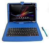 Etui aspect cuir bleu + clavier intégré AZERTY (français) pour tablettes Sony Xperia Tablet Z et Z2 10,1' et Packard Bell Liberty Tab et G100 + stylet tactile BONUS
