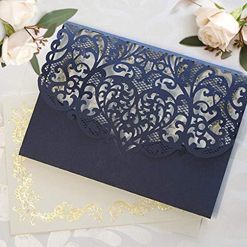 chzeit Geburtstagskarte Einladungskarten 50 set DIY- Marine Spitze mit Gold Foil - Hochzeitskartenn + Kuvert + unabhängiges Drucken ()