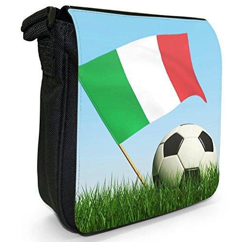 Bandiera con calcio bianco e nero piccolo nero Tela Borsa a tracolla, taglia S Italy Flag with Football