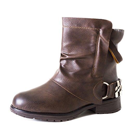 Cinta Senhoras Elegantes Motociclista Botas Metálicas Ankle Boots Botas Com Rebites E Boston Marrom