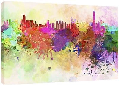 MOOL 32 x 22-inch Hong Kong Skyline in Watercolour Canvas Wall Art Print, Multi-Colour