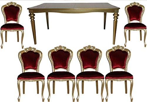 Casa-Padrino Comedor de Lujo Barroco Establecer Burdeos/Oro - Mesa + 6 sillas - Muebles de Estilo...
