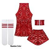 IEFIEL Disfraz de Bailarian para Niña Ropa de Danza Hip Hop Jazz Baile Callejero Vestido Baile de Lentejuelas Infantil Costume 3-12 Años Rojo 7-8 Años