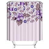 YAOFUTEE Benutzerdefinierte Duschvorhang,Romantische purpurrote Blumen-Karikatur Mehltau beständiges Gewebe Badezimmer Dekorationen 48
