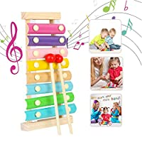 WELLXUNK Multi-color Musical Toy, Musical Instruments Toy Xylophone, for Holiday/Birthday Gift, Wooden Musical Instrument with Bright Multi-Colored Bars and Child-Safe Mallets(Macaron)