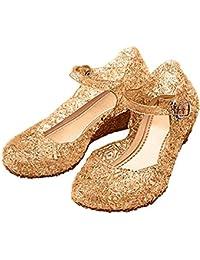 L-Peach Sandalias de Princesa para Niñas Disfraz para Halloween Fiesta Cumpleaños Navidad EU28-33
