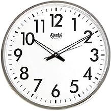 Ajanta Quartz Wall Clock (32 cm x 32 cm x 2 cm, White Dial and Silver Rim)